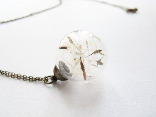 *Rosy Garden* 古典風幸褔的歌蒲公英種子玻璃球項鏈 - Rosy Garden | Pinkoi
