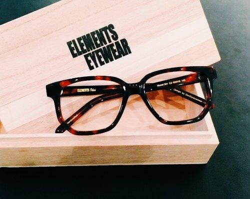 咖啡紅玳瑁色復古方型眼鏡框 日本手造 日本IOFT國際眼鏡展得獎品牌 - elements-eyewear | Pinkoi