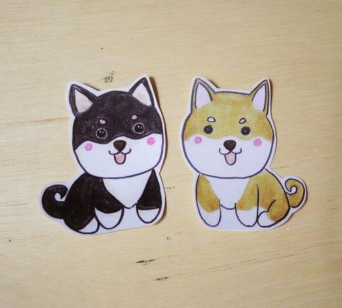 手繪插畫風格 完全防水貼紙 柴犬 黑色 黃色 - 毛球工坊 羊毛氈 | Pinkoi