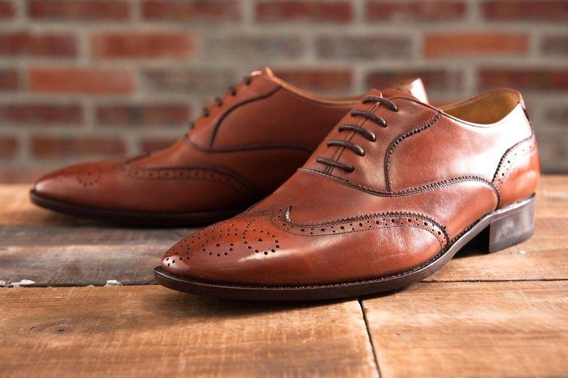 3/4雕花鋸齒翼紋牛津鞋 焦咖啡 紳士鞋 婚鞋 皮鞋 男 - 設計館 ORINGO 林果良品 - 男款牛津鞋.樂福鞋   Pinkoi