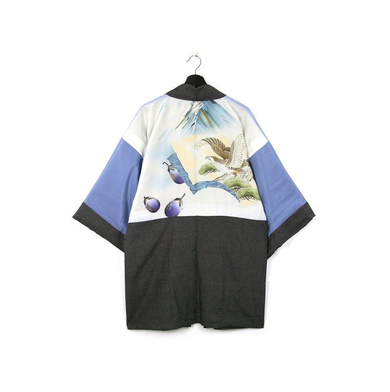 Back to Green-日本帶回男款羽織 黑底 老鷹 /vintage kimono - 設計館 Back to Green - 男裝外套   Pinkoi
