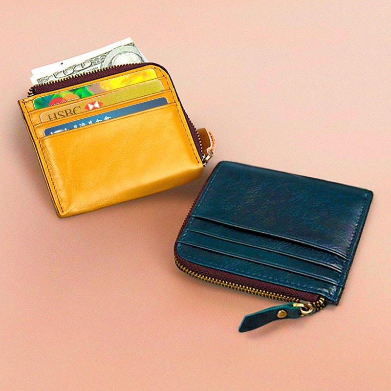 真皮錢包 L型拉鏈短夾 卡夾 小零錢口袋 交換禮物【免費刻英文】 - 設計館 BOVER - 長短夾.錢包 | Pinkoi