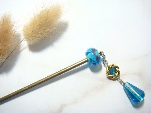 柚子林手工琉璃 - 雙色小葉子花樣 - 髮簪款 - 淺海藍 - 設計師 柚子林手工琉璃 | Pinkoi