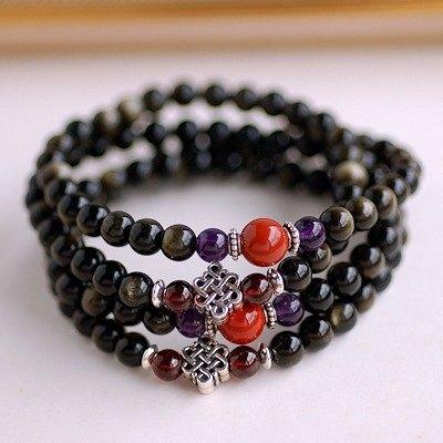 金曜石*石榴石*紫水晶108顆念珠項鍊/佛珠項鍊/多圈手鍊 - CaWaiiDaisy Handmade Jewelry   Pinkoi