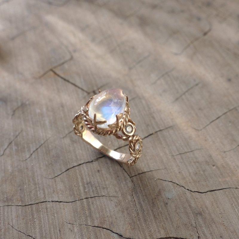 18K玫瑰金 - 麻花小葉 月光石戒指 - 設計館 UnderWings Metal 羽下金工 - 戒指 | Pinkoi