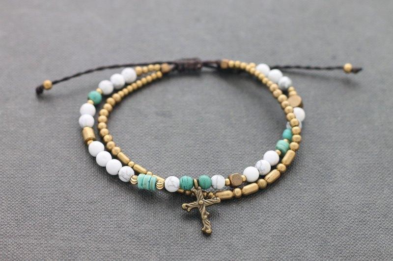 十字架手鍊石天鵝綠松石免費尺碼男士女士 - 設計館 xtravirgin - 手鍊.手環   Pinkoi
