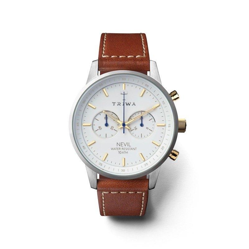 TRIWA 北歐設計 Snow Nevil-棕色有機皮帶男女款腕錶 NEST115-SC010215 - 設計館 TRIWA - 男錶,加上兩個小錶盤,中性錶   Pinkoi
