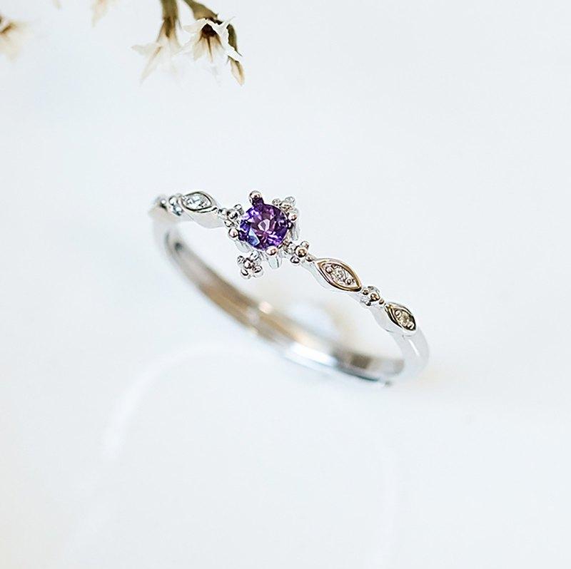 紫水晶 Amethyst 925純銀 戒指 爪鑲氣質復古細戒 2月誕生石 - 設計館 小件飾 Little thing - 戒指 | Pinkoi