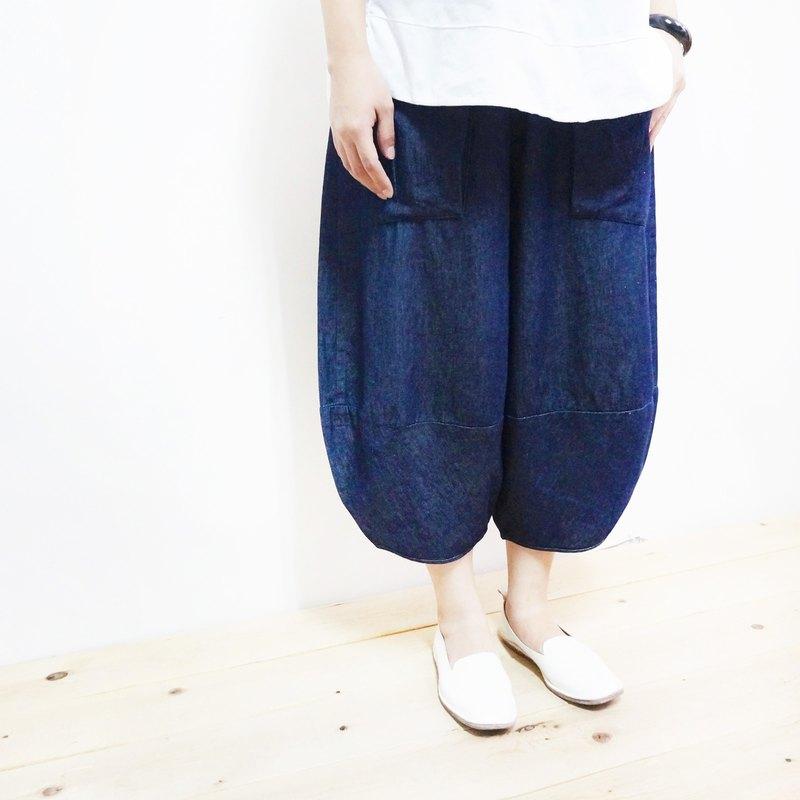 拼接單寧八分燈籠褲 - 設計館 柒伍八〇 - 女裝長褲   Pinkoi