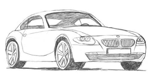 Как нарисовать автомобиль BMW карандашом поэтапно?