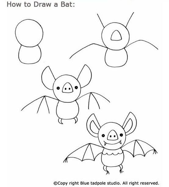 En veldig uvanlig og fantastisk skapning, og for å tegne den for å dra nytte av neste fasede tegneplan, som er egnet for å tegne sammen med barnet, selv om det kan takle mønsteret og uavhengig. I begynnelsen tegner vi en sirkel - hodet og hennes kropp, så tegner vi en rekke fremtidige ører og vinger. I neste stadium tegner vi en søt frukt, fullfører ørene og webbedene. Klar tegning farge svart eller brun maling.
