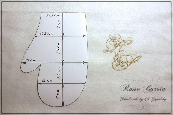 Схема варежки из фетра