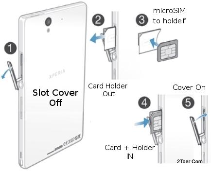 Как вставить симку в Sony Xperia Z1 compact?