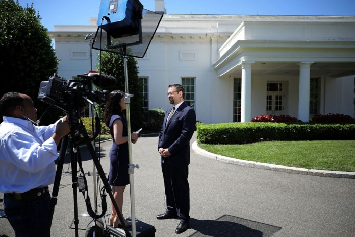WASHINGTON, DC - JUNE 09: White House Deputy Assistant To The President Sebastian Gorka participates in a television interview outside the White House West Wing June 9, 2017 in Washington, DC. A former national security editor for Breitbart, Gorka has hard-line stands on Islam and terrorism and past involvement in right-wing Hungarian politics. (Photo by Chip Somodevilla/Getty Images)