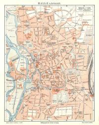Historische, alte Stadtkarte 1895: Halle an der Saale ...