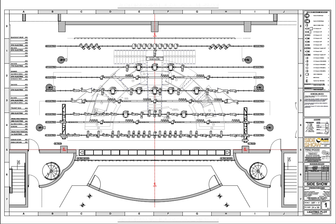 hight resolution of let s use side show as an example again pictured above is a couple of pages from the lighting plot the show was large enough that the data needed to be