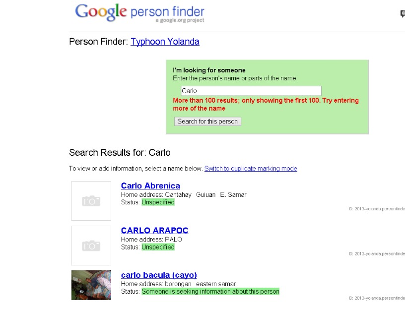 how google person finder