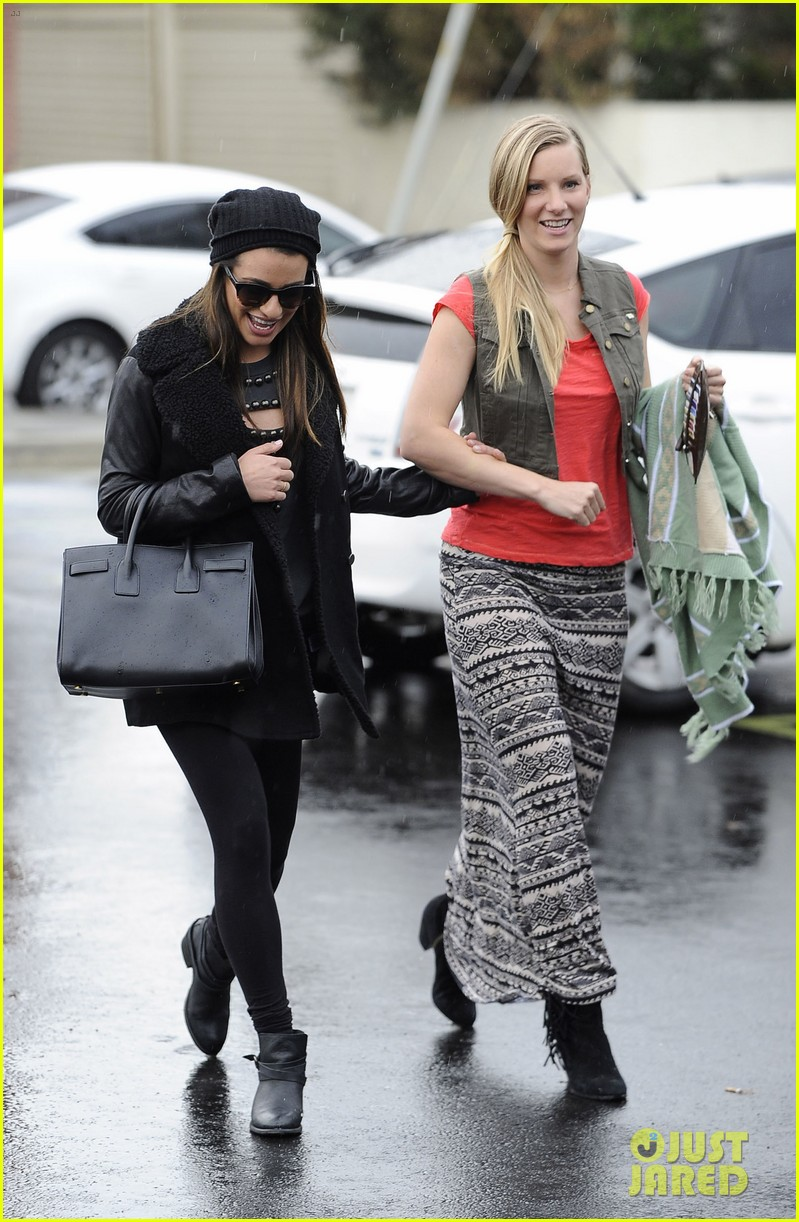 lea michele heather morris walk arm in arm in rainy la 01