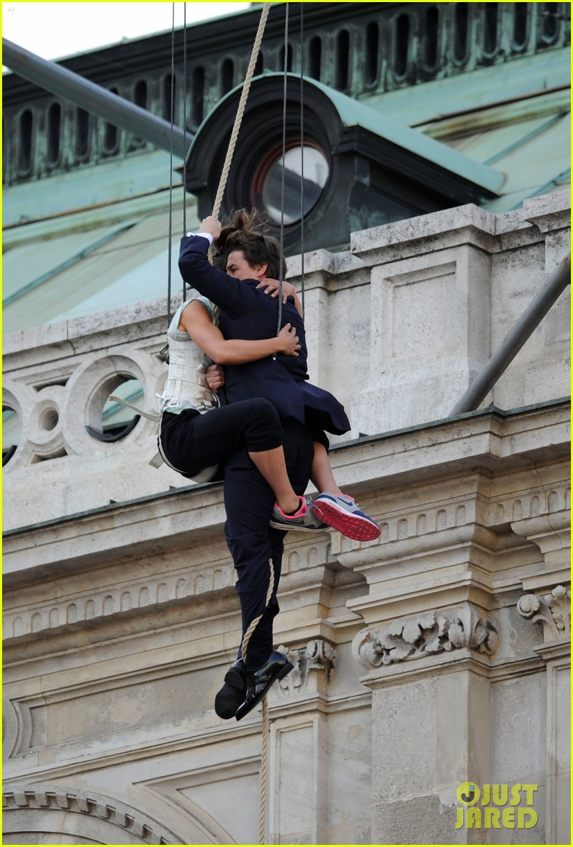 Tom Cruise Hangs in the Air with a Stunt Woman for MI5