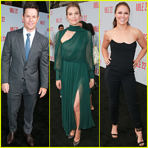 Mark Wahlberg, Lauren Cohan, & Ronda Rousey Premiere 'Mile 22' in LA