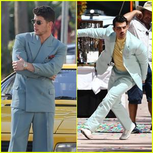Nick & Joe Jonas Film Scenes for a Music Video in Miami!