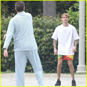 Justin Bieber Plays a Ball Game While Wife Hailey Hits A Workout Class