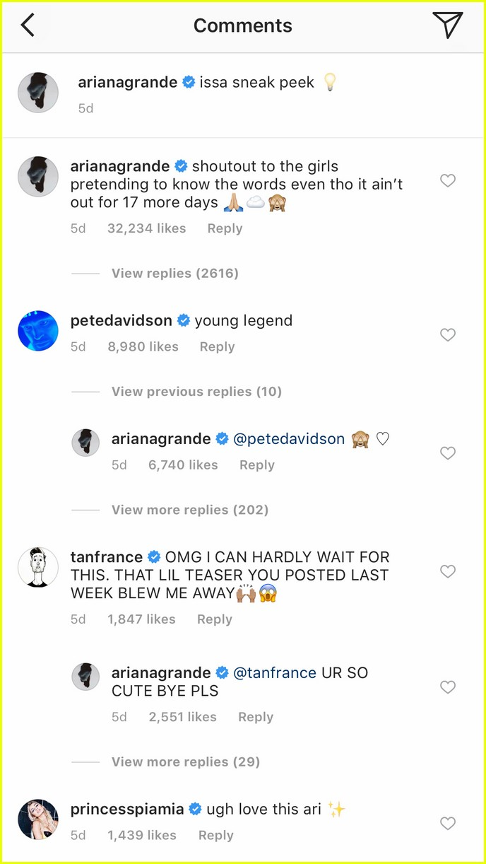 Cute Comments : comments, Sized, Photo, Ariana, Grande, Davidson, Instagram, Comments, Grande's, Cute!, Jared
