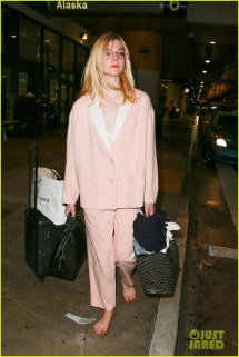 Elle Fanning Barefoot Airport