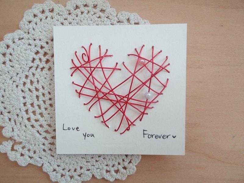 超觸感鋁線立體卡片~炙熱的心情人節快樂 - 設計館 鋁現創意*aluminumideas - 卡片,明信片   Pinkoi