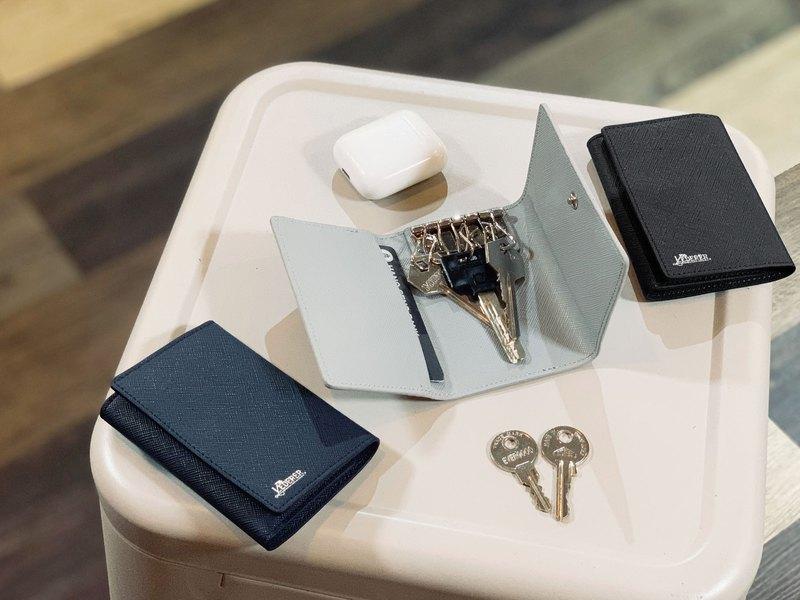 經典十字紋皮革6扣鑰匙皮套 - 設計館 The Lederer - 鑰匙圈,鑰匙包 | Pinkoi