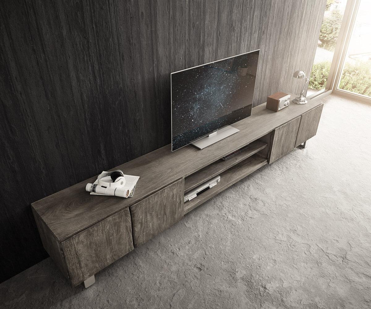 details zu fernsehtisch live edge akazie platin 300 cm 4 turen 2 facher baumkante lowboard
