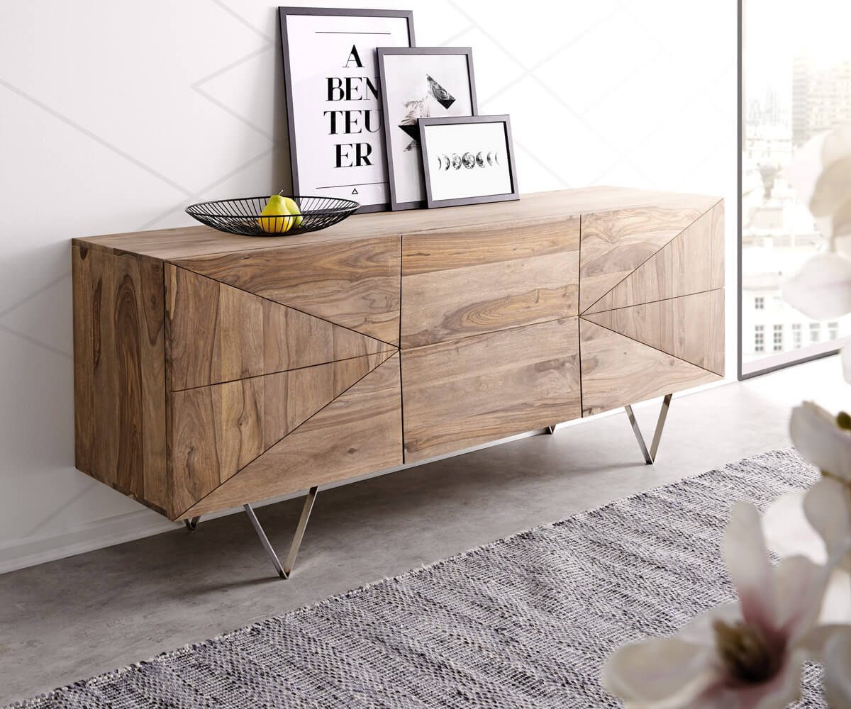DesignSideboard Wyatt 175 cm Sheesham Natur 3D Optik