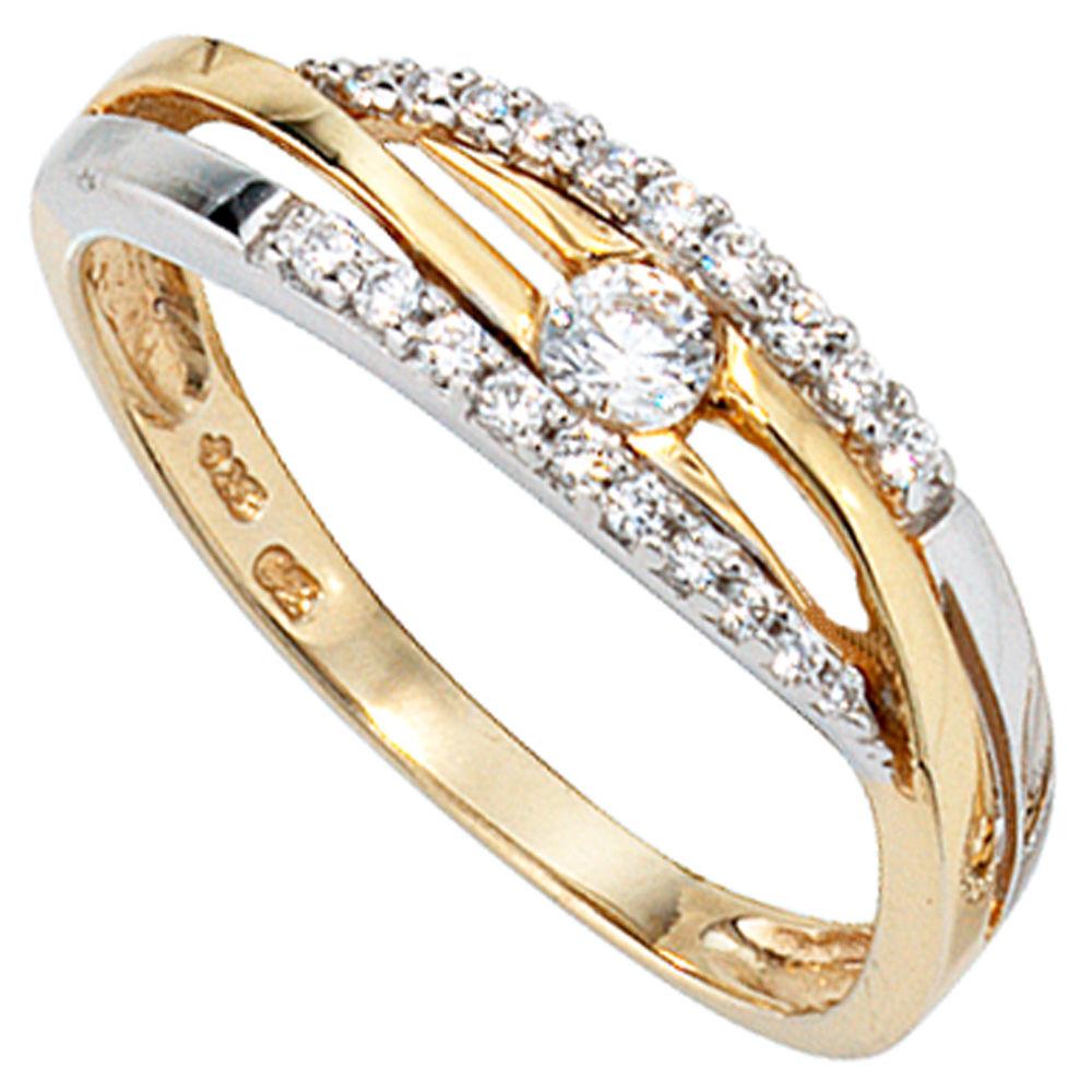 Ring Goldring Damenring mit Zirkonia 333 Gold Gelbgold