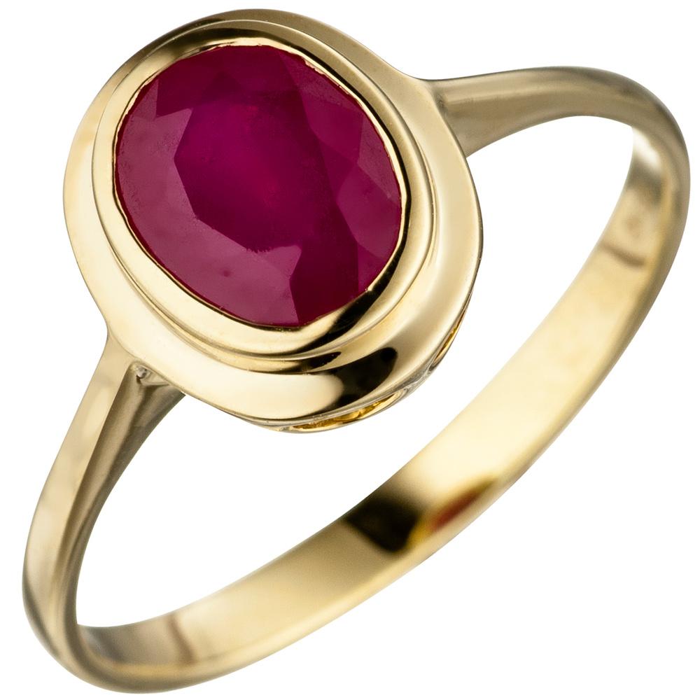 Ring Damenring mit echtem Rubin oval rot 585 Gold