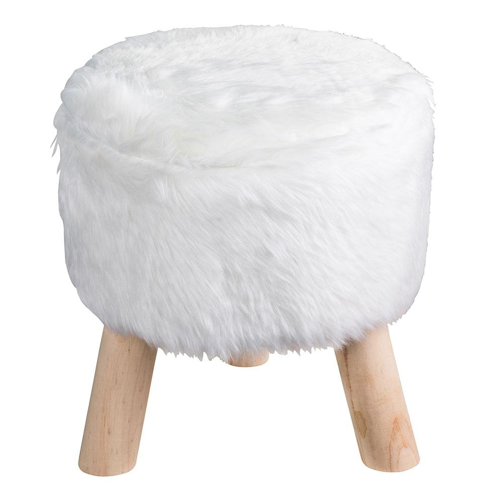 tabouret 3 pieds en bois fausse fourrure blanche p 32 cm