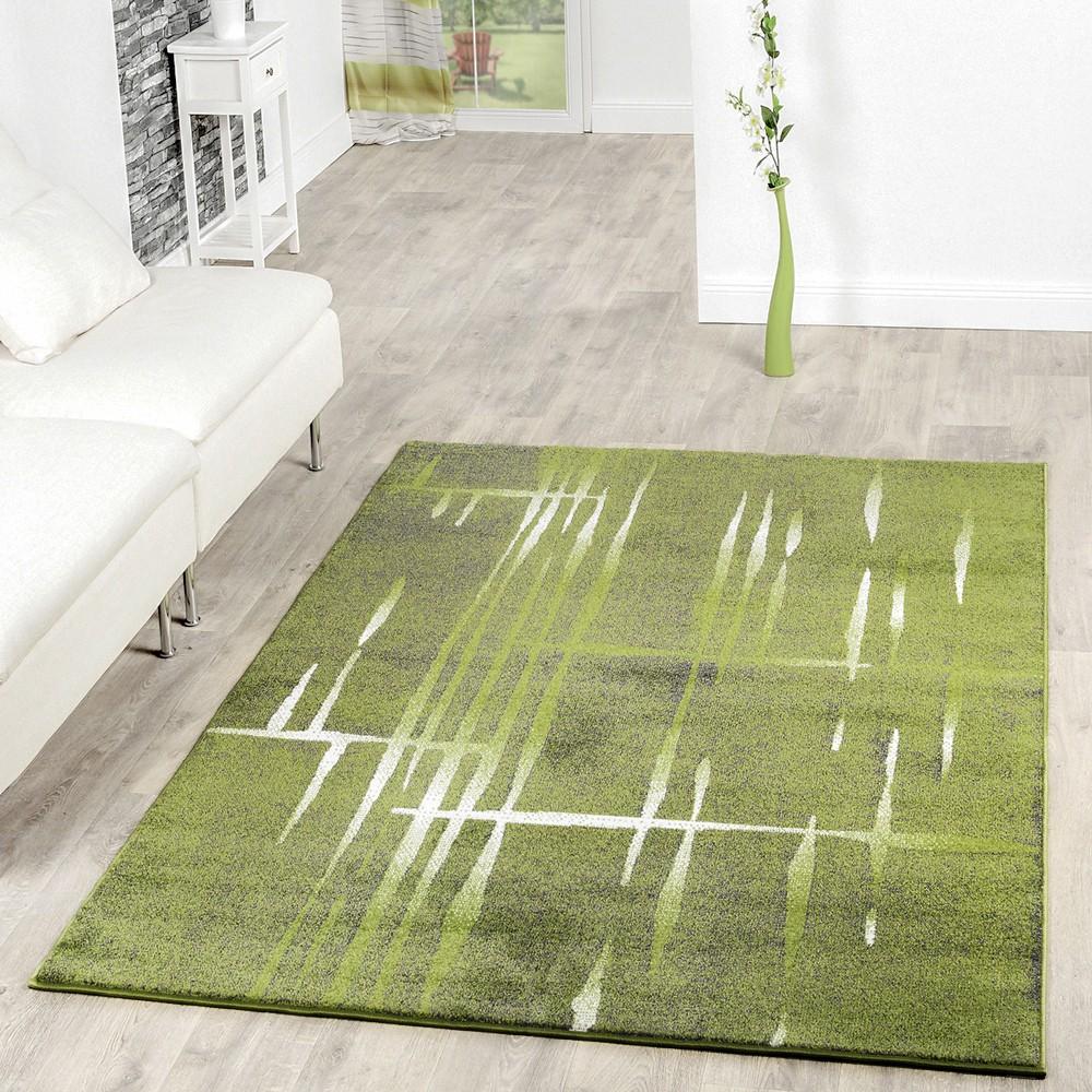 Moderner Wohnzimmer Teppich Matrix Design Kurzflor Meliert