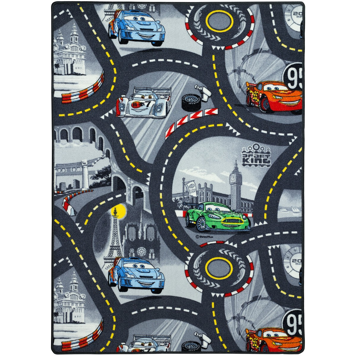 Shaggy Teppich 160x200 Children Carpet Disney Cars Carpet Play Mat Streets