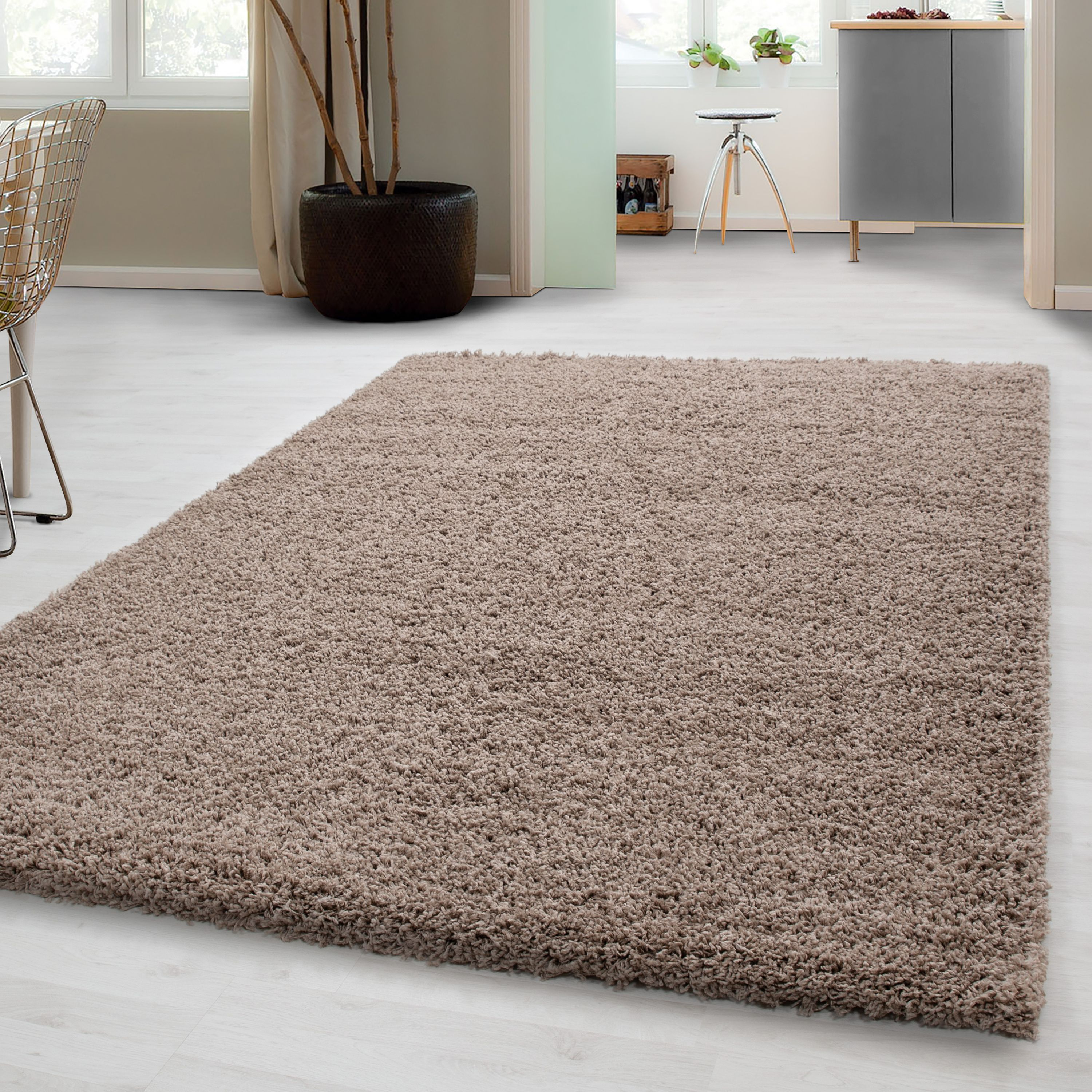 Shaggy Teppich 300x400 Hochflor Shaggy Teppich In Beige Unicolor Langflor