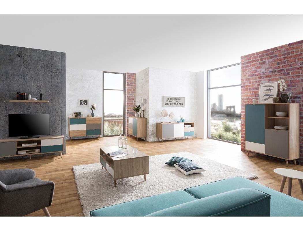 Highboard Havanna 53 Sonoma Eiche 103x139x40 Schrank Wohnzimmerschrank Wohnbereiche Wohnzimmer