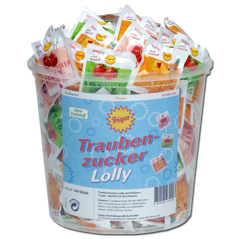 Frigeo Traubenzucker Lolly Lutscher 100 Stck  sweets