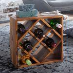 Wohnling Weinregal Wl5 673 Sheesham Massivholz 40x40x25cm Holzregal 8 Flaschen Kleines Flaschenregal Standregal Schmal