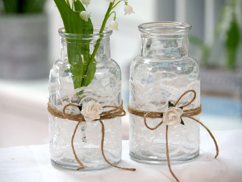 2 Vasen Hochzeit Vintage Tischdeko Spitze Wei MIRA Hochzeit Tischdeko Vasen