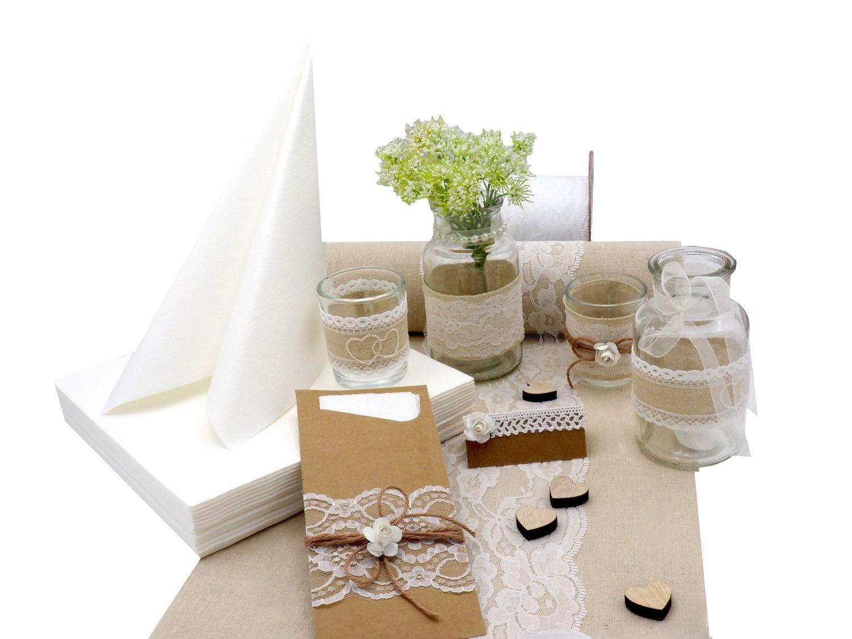 Tischdeko Hochzeit Vintage Natur Wei SET Hochzeit