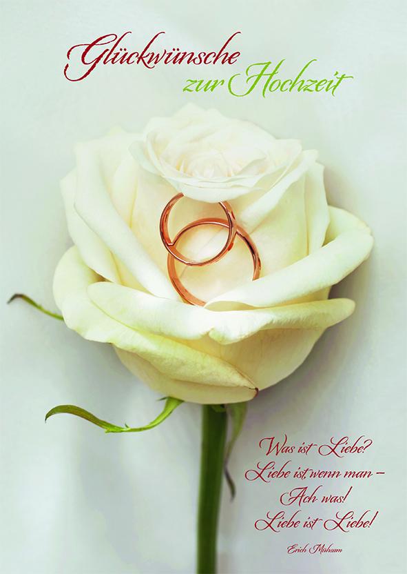 Hochzeitskarte Rose Glckwnsche Hochzeit 6 Stck