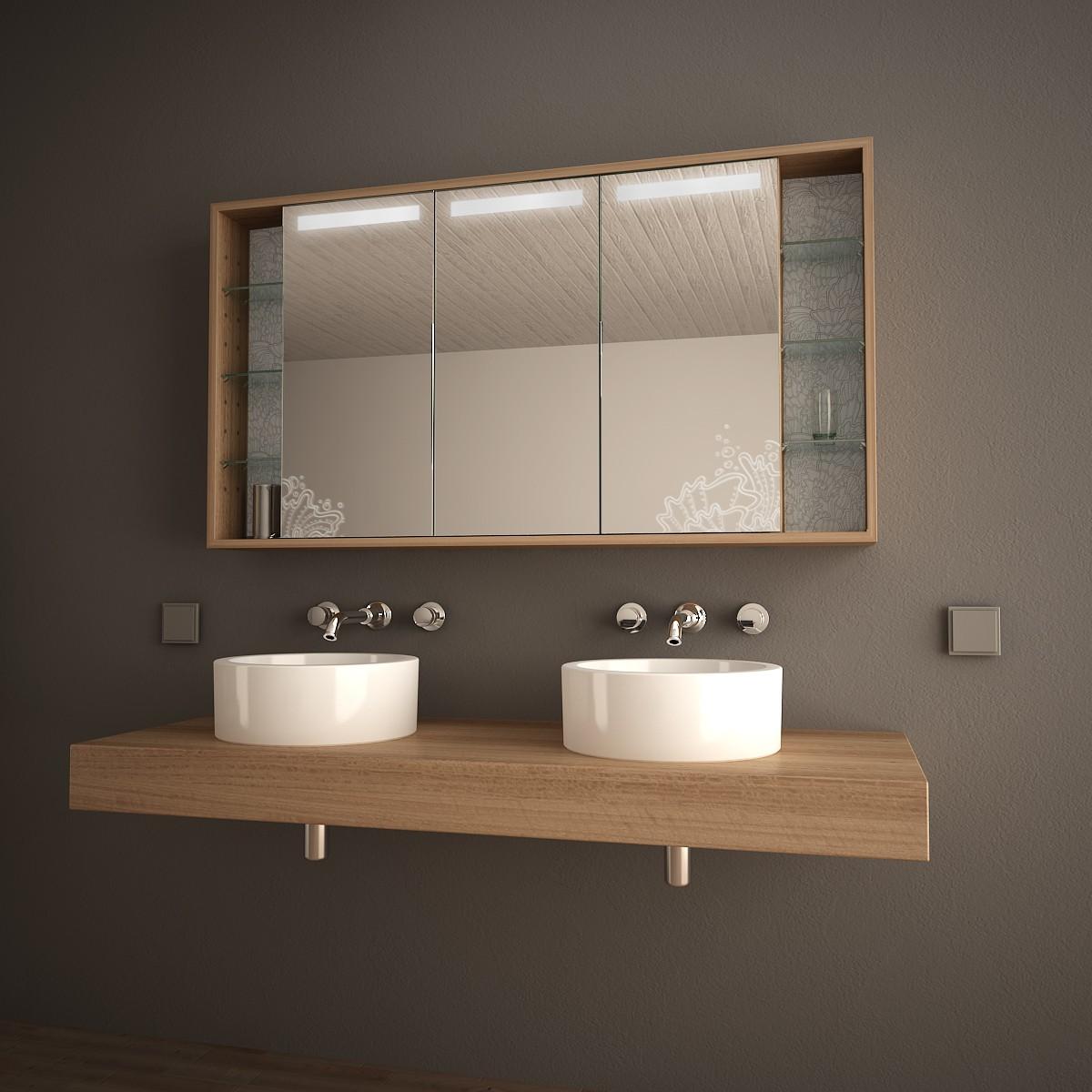 Spiegelschrank Holz  Badezimmer Hochschrank Enilia In Schwarz