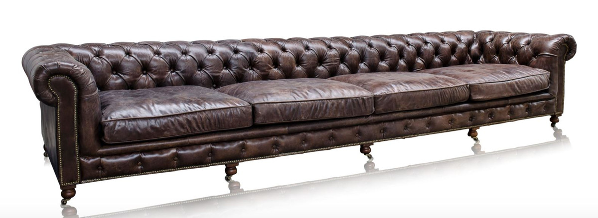 casa padrino luxury 6 seater sofa brown 410 x 120 x h 77 cm chesterfield furniture