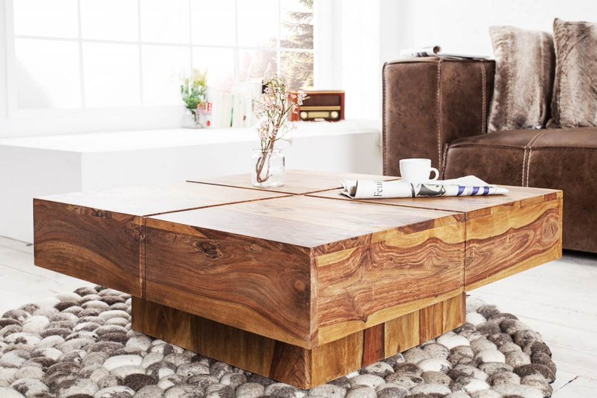 casa padrino designer solid wood coffee table nature 80 x 30 cm living room table
