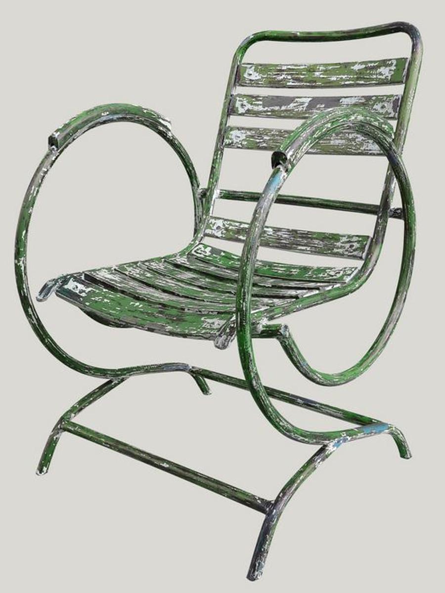 casa padrino art nouveau chaise de jardin avec accoudoirs antique vert 60 x 45 x h 85 cm mobilier de jardin fait main