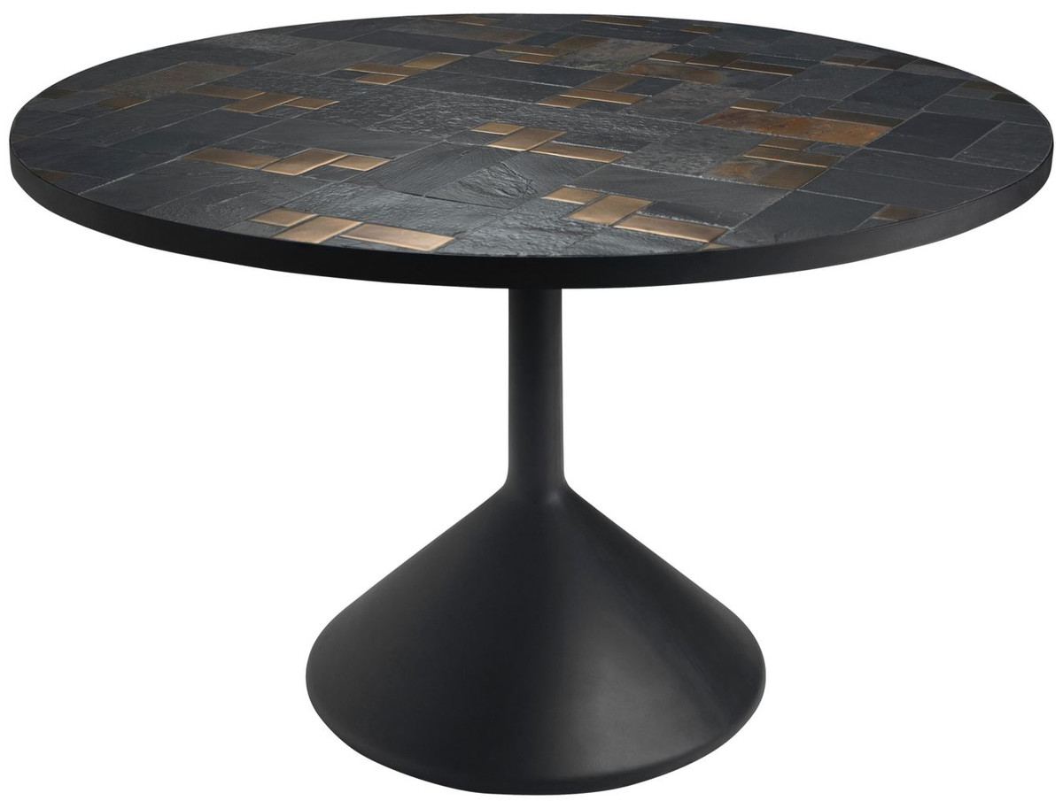 casa padrino luxury dining table multicolor black o 120 x h 76 cm round kitchen table with slate tiles ceramic tiles