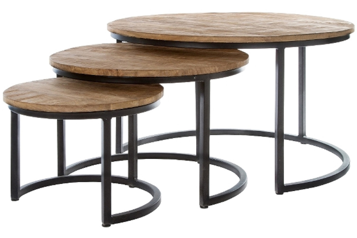 casa padrino luxury coffee table set of 3 natural black o 78 x h 48 cm round coffee tables with semicircular metal base frame